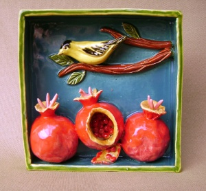 Yellow Finch on a branch with Pomegranates, Ceramic Shadow Box