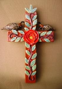 A pair of Quails on a cross Bible Ref: Matthew 6: 26