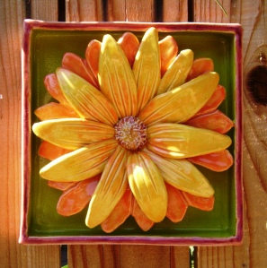 Flower Power, bold ceramic flower handmade , kiln fired, indoors or out