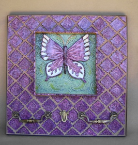 """20"""" square Wall Hanging Shadow box with floating butterfly surrounded with handmade tiles and vintage drawer pulls for a pho function."""