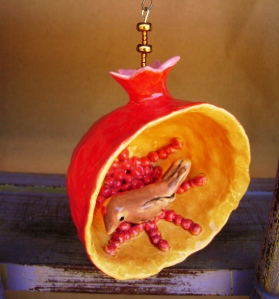 Pomegranate Ornament with Brown Bird
