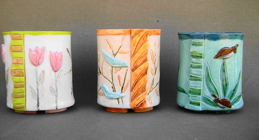 Wrapped clay vases for flowers or made to fit a pump soap dispenser