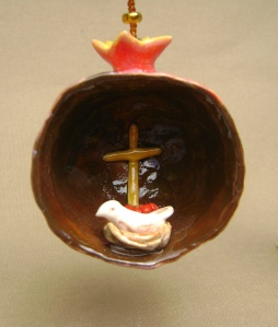 "Ceramic ""pinch Pot"" Pomegranate Ornament"