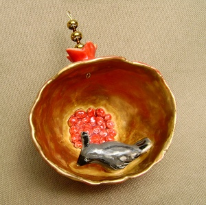 "Ceramic ""pinch pot"" Pomegranate Ornament with quail"
