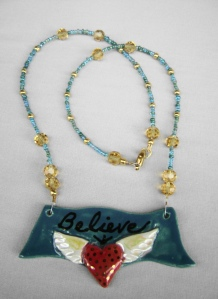 """"""" Believe"""" winged heart pendant and beaded necklace"""