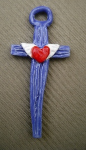 small ceramic red, white and blue cross with winged heart pendant/ ornament