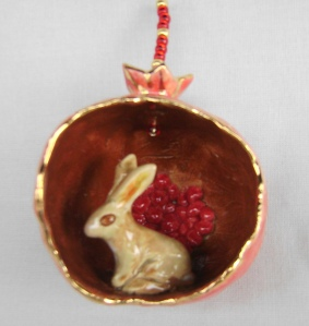 Ceramic Pomegranate Ornament with bunny
