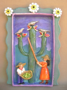 Desert Harvesting Ceramic Shadow Box Collecting fruit from Saguaro Cactus