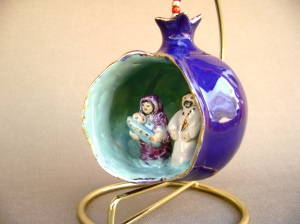 Nativity scene Blue Ceramic Pomegranate Ornament