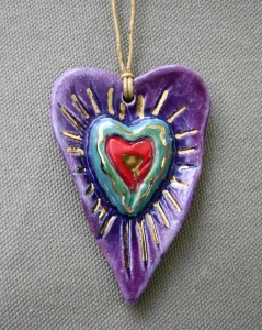 purple heart pendant with gold