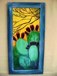 "Cactus & Mesquite Acrylic on wood panel, 28"" x 14"""