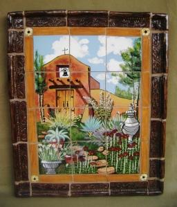 """Chapel Garden Mural   Ceramic Tile, handmade molded frame.  19"""" x 22.5"""" x 2"""" deep"""