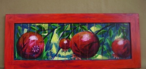 "Pomegranate Orchard Acrylic on wood 11.5"" x  28"""
