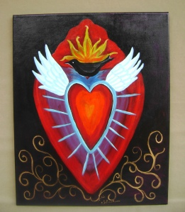 """Sacred Heart with Black Bird  Acrylic on canvas, unframed, 16"""" x 20"""""""