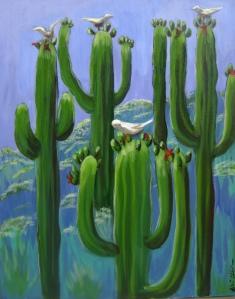 "Saguaro Forest Acrylic on Canvas, Unframed, 16"" x 20"""