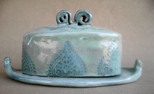 Teal and Turquiose Butter Dish