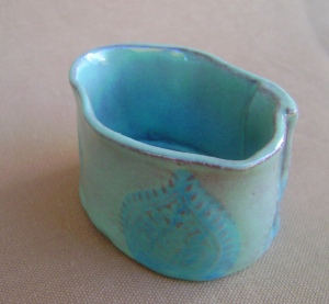 Small bowl  teal and Turquoise glaze with tear drop stamp design