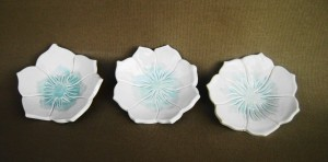 Set of Three Lotus dish, dipping bowl, sushi dish,   $34.00