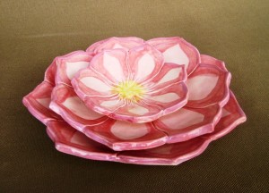 Set of 3 Pink Lotus dishes, for cake, dessert, pie, candles, change, table setting,   $ 52.00