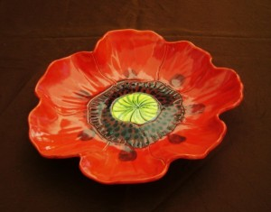 Red Poppy Serving Bowl, for candy, snacks, fruit salad,  $45.00