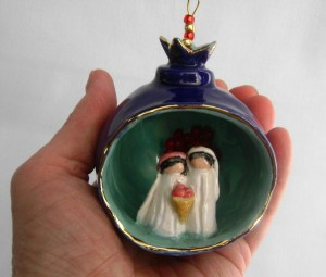 Wedding Couple Pomegranate Ornament $45.00