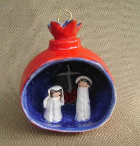 Wedding Couple with Cross, Pomegranate Ornament, $45.00