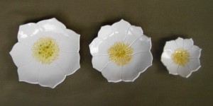 Set of three White lotus plates for cake, dessert, candles, dipping, sushi, change,  serving   $45.00