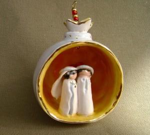 White Wedding Pomegranate Ornament $45.00