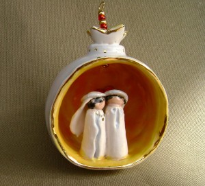White Wedding Pomegranate Ornament $45.00