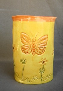 Stamped butterfly vase