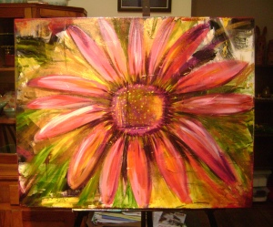 "Abstract acylic Daisy on Canvas, 22"" x 30"""