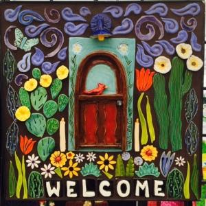 Welcome Mosaic with 3-d door tile