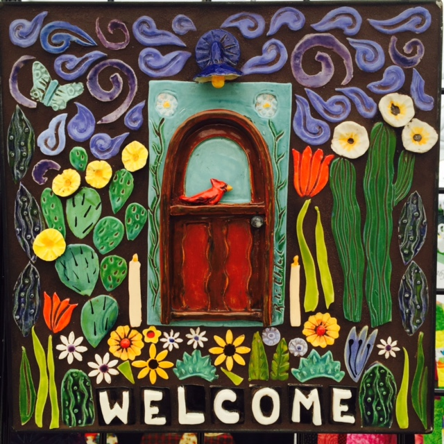 Welcome Mosaic with 3-d door tile