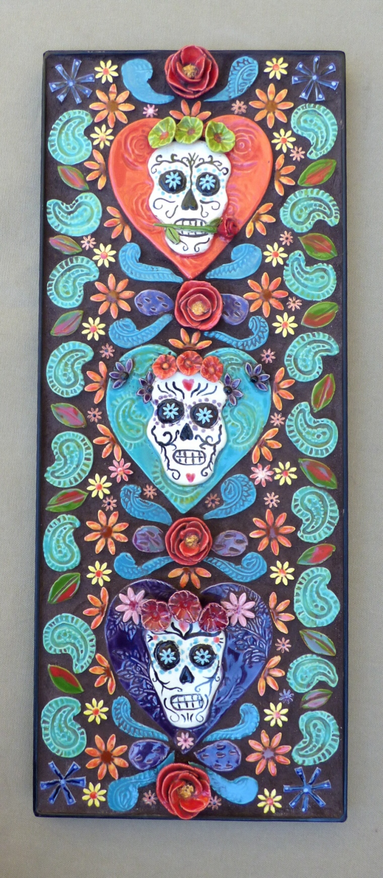 Chlad, Robin, Sugar Skull Trio, Mosaic tile, 3-d wall piece, 8 inches x 20 inches, 415.00