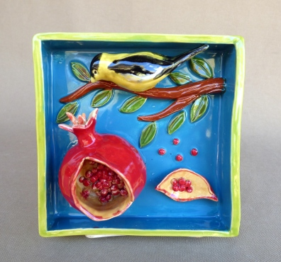 "Yellow Finch with Pomegranate, 5.5""Sq."