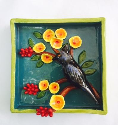 "Phainopepla on a Bird of Paradise 5.5"" square"