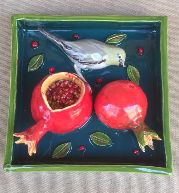 "Verdin with Pomegranates, 5.5"" Sq."