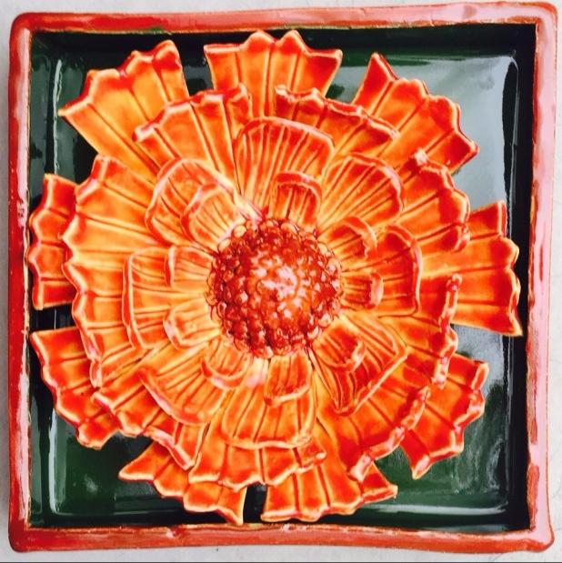"Marigold Ceramic Shadow Box 5.5"" square"