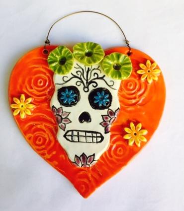 Coral Sugar Skull Heart Ornament
