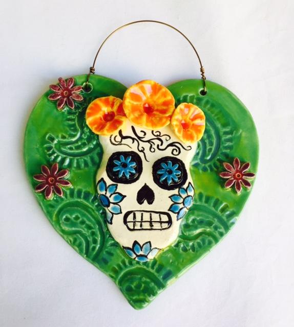 Teal Green Sugar Skull Heart Ornament