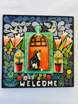 Tuxedo Cat in a Window, Mosaic Welcome Plaque