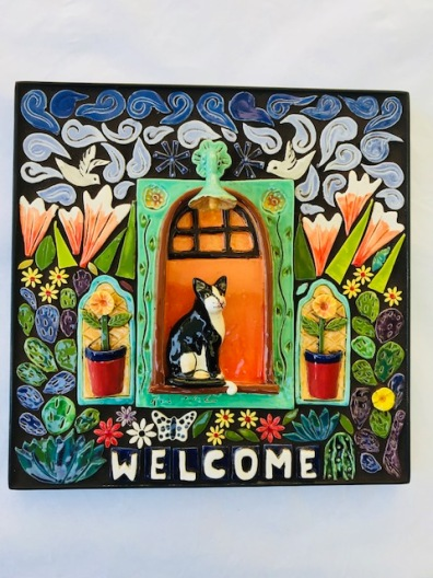 "Tuxedo Cat in a Window , Mosaic Welcome Plaque 12.5"" x 12.5"""