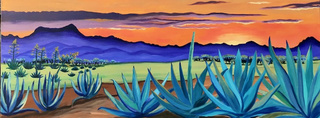 Agave Monsoon, acrylic on canvas, 16 x 40, Robin Chlad