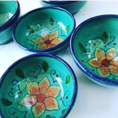 Teal Flower Bowls