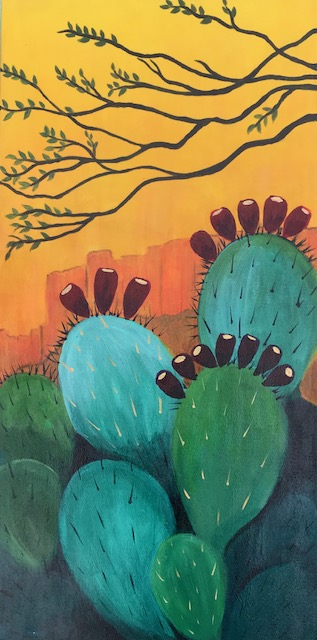 Prickly Pear Sunrise, Acrylic on canvas, 30 x 15 inches, Robin Chlad