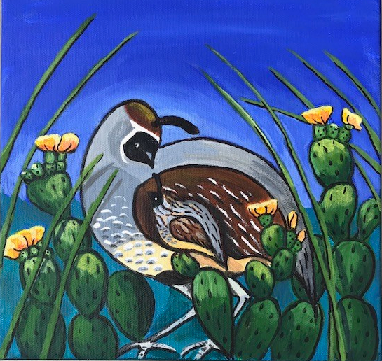 Reassurance, Quail in Cactus, Acrylic on Canvas, 10 x 10 inch, Robin Chlad