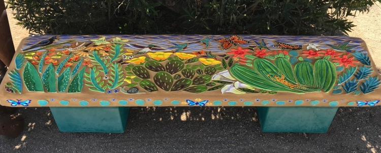 Bird and Butterfly Garden Bench with Teal legs