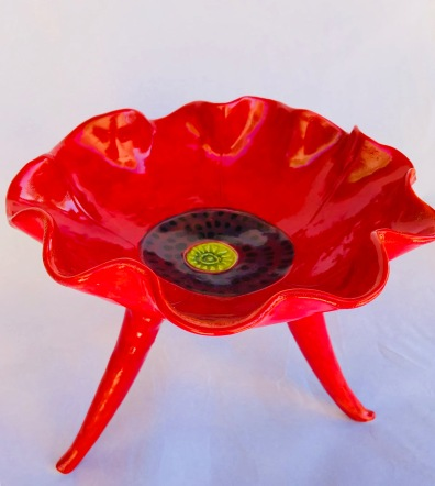 Top Red Poppy Pedestal