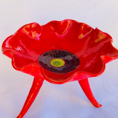 Top Red Poppy Pedestal