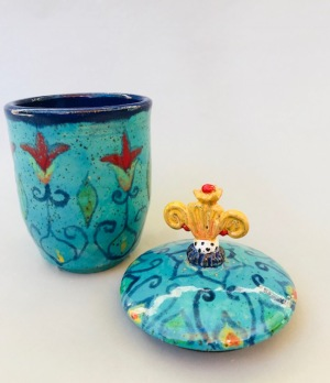Wheel thrown cup and lid